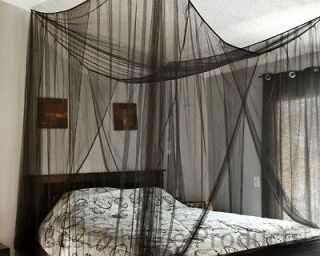 Bed Netting Mosquito Net Black Four Corner Canopy Queen King Bedding