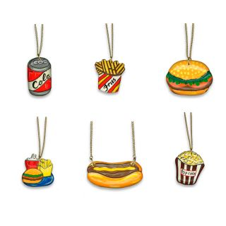 Vintage Junk Food Necklace Fries Hot Dog Hamburger Happy Meal Coke