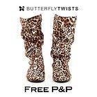 BUTTERFLY TWISTS New Womens Leopard Print Faux Suede Foldable Flat