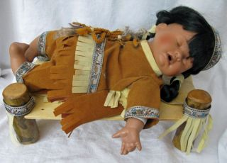 Ashley Belle Porcelain Indian Girl Doll on Wooden Bed