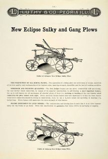 1912 Ad Antique Fuller Johnson New Eclipse Sulky Gang Plow Farm