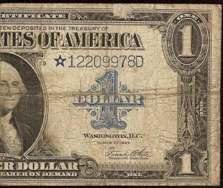 LARGE 1923 $1 DOLLAR BILL * STAR * NOTE SILVER CERTIFICATE PAPER MONEY
