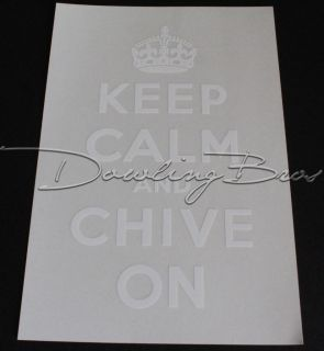 KCCO Keep Calm and Chive On Clear White Sticker Decal   Window Car
