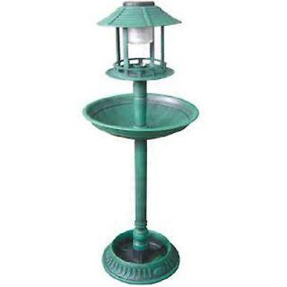 BIRD BATH & SOLAR LIGHT FEEDER STAND GARDEN ORNAMENT FEEDING TABLE