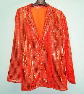 Cabaret Disco Fancy Party Dance Singer Glitter Sequin Jacket Orange