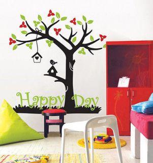 HAPPY DAY TREE  DIY Home Decor Art Big Size Wall Sticker Vinyl