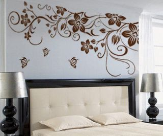 Vine Flower Butterfly Removable PVC Wall Sticker Home Decor Art