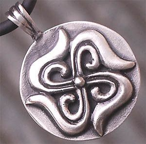 Swastika Buddhism Hindu Pewter Pendant W Black Necklace