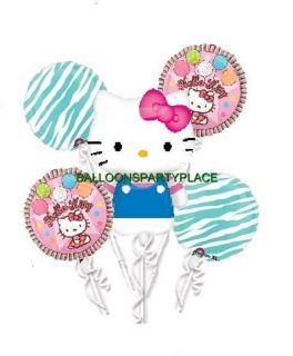 HELLO KITTY BLUE PINK ZEBRA mylar balloons party decorations supplies