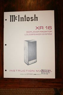 Mcintosh XR16 XR 16 Speaker Owners Manual *Original*