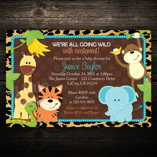 Wild Leopard Print Jungle Safari Friends Baby Shower or Birthday