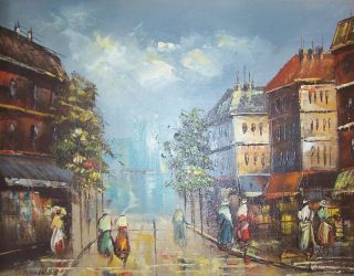 Signed Billings French Impressionist Art Parisian Street Scene Vintage