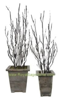 Snow Covered Black Twig Branch Potted Christmas Tree S2