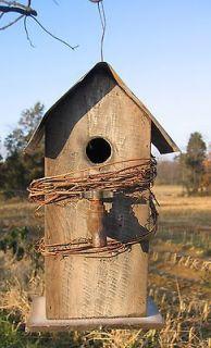 Wonderful Tall Bird House Birdhouse, License Plate Roof, Very Cute