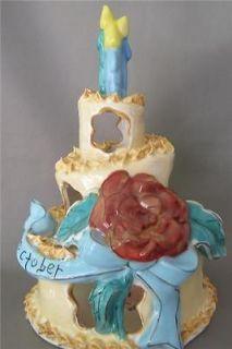 LARGE Blue Sky Clayworks Heather Goldminc OCTOBER Birthday Cake