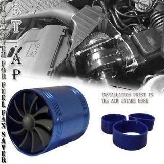 AIR INTAKE SHORT RAM TORNADO SUPERCHARGER GAS FUEL SAVER DUAL FAN BLUE