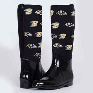 Cuce Shoes Baltimore Ravens Womens Enthusiast II Rain Boots   Black