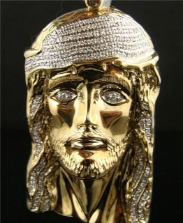 Mens Yellow Gold Jesus Face Piece Diamond Cross 1.40 Ct