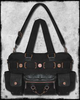 BANNED BLACK COPPER STEAMPUNK CUFF HANDCUFF VTG STYLE SHOULDER BAG