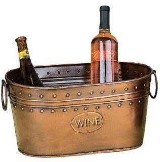 Benzara Copper Brown Ice Bucket 7.5H,15W, 2 Side Handles WINE