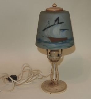 VTG ALADDIN MUNCIE IND SATIN REVERSE PAINT SAILBOAT GLASS SHADE LAMP