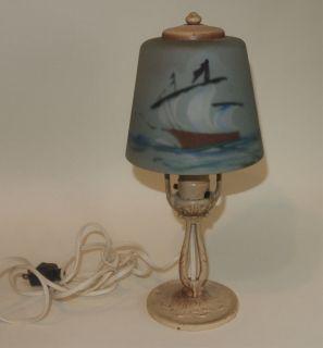VTG ALADDIN MUNCIE IND SATIN REVERSE PAINT SAILBOAT GLASS SHADE LAMP