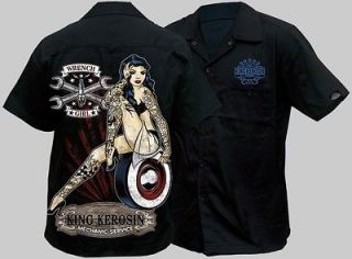 WORKSHIRT WORK SHIRT ROCKABILLY KING KEROSIN WRENCH GIRL MAG WHEEL ROD