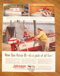 1958 Johnson Boat Motor Sea Horse Ad Shows Arkansas Traveler Boat