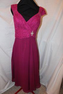 6P RASPBERRY Lace/chiffon Short formal Mothers dress, Cameron Blake
