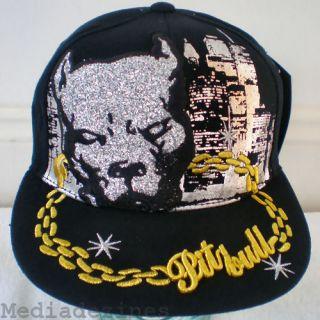 NEW HIP HOP PITBULL DOG FITTED BLACK BASEBALL HAT CAP