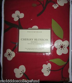 NWT Pottery Barn Cherry Blossom F/Q duvet red Asian full queen fq tree