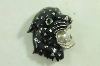 Vintage Black Panther w/ Pearl Unusual Costume Jewelry From Estate
