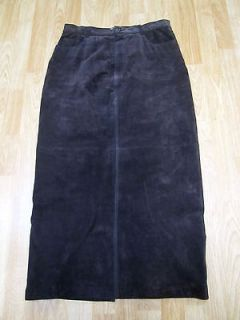 Bob Timberlake Womens Brown Suede Leather Long Pencil Skirt Slit Sz 10