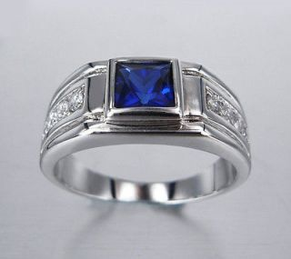 Big 18K White Gold GP Blue Simulated Diamond Mens Ring Size 8 size P