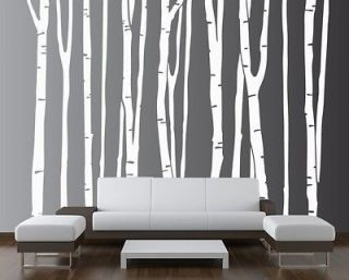 Birch Tree Decal Forest Kids Vinyl Sticker Removable (9 trees) #1109