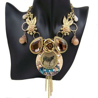 art deco antique gold gp glass crystal bib pendant zebral necklace