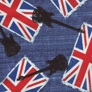 MUSIC GUITARS BRITISH FLAGS DENIM BLUE Cotton Fabric BTY for Quilting