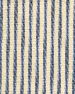 French Country Ticking Stripe Sky Blue Fabric Shower Curtain Cotton