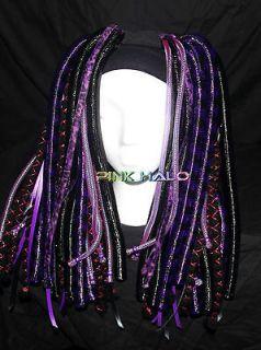 Cyber Falls Violet Vixen hair black rave UV glow blacklight dread lox