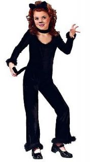 Girls Black Cat Halloween Costume Kitty Kitten Suit Fur S small M