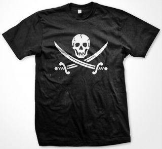 Skull Crossed Swords Pirate Flag Jolly Roger Surrender Strength Mens