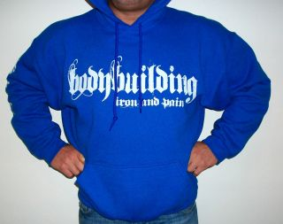BODYBUILDING CLOTHING HOODIE WORKOUT TOP ROYAL BLUE IRON & PAIN LOGO