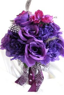 Wedding Bouquet Bridal Silk flowers PURPLE PLUM BLACK/ WHITE FEATHERS