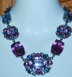 Necklace Liz Claiborne 19 Pink Aqua Purple White Crystal Rhinestones