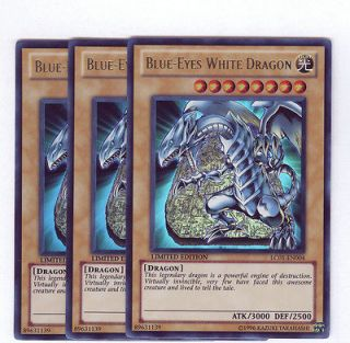 Yugioh / Blue Eyes White Dragon LC01 EN004 x3 / Mint Ultra Rare