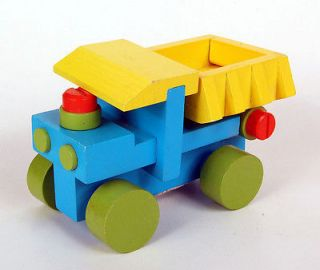 Painted Wooden Toy Dump Truck Bed Lifts Dump Gate Opens