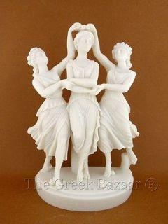 Three Graces Muses Greek Marble Statue 9.84in High N716