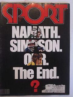 JOE NAMATH BOBBY ORR OJ SIMPSON 1977 SPORT magazine