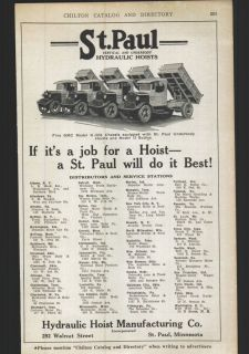 1926 ad St Paul Hydraulic Hoists Dump Truck Body Bodies
