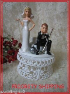 HUMOROUS WEDDING GOLFER GOLF BRIDE GROOM CAKE TOPPER